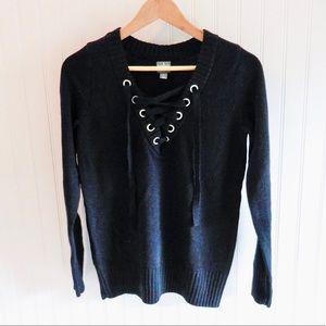 New York & Company Soho Black Lace Up Sweater